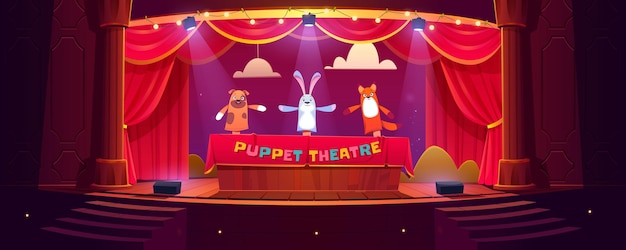 Puppet theater on stage, funny dolls perform show for children on scene with red curtains