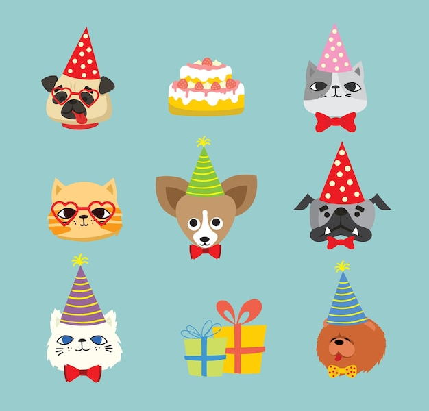 Puppies and cats party icons