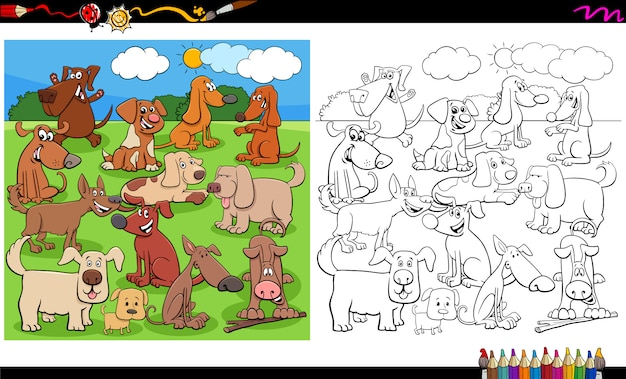 Puppies and dogs characters group coloring book page