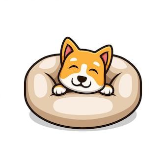 犬のベッドの漫画イラストの子犬