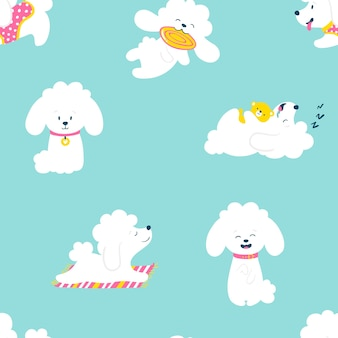 Puppies seamless pattern . funny white little poodle dogs in a daily routine.  illustration.