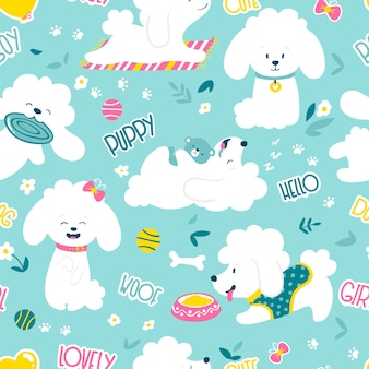 Puppies seamless pattern . funny white little poodle dogs in a daily routine.  illustration