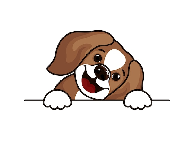 子犬ビーグル犬の頭のスケッチイラスト