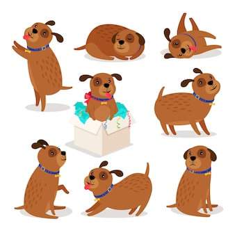Puppy character. brown funny cartoon dog activities isolated