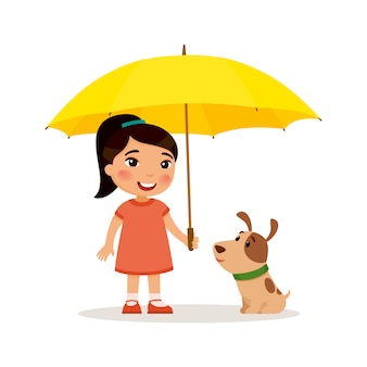 Puppy and cute little asian girl with yellow umbrella. happy school or preschool kid and her pet playing together. funny cartoon character. illustration. isolated on white background.