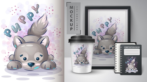 子犬の犬のポスターとマーチャンダイジングの手描き