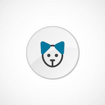 Puppy icon 2 colored, gray and blue, circle badge