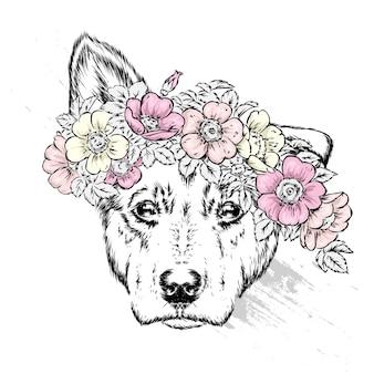 花輪の子犬