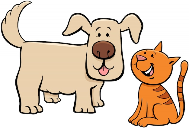Puppy and kitten cartoon characters illustration