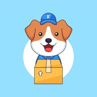 パッケージボックスを運ぶ配達宅配便として働く子犬の小さな犬