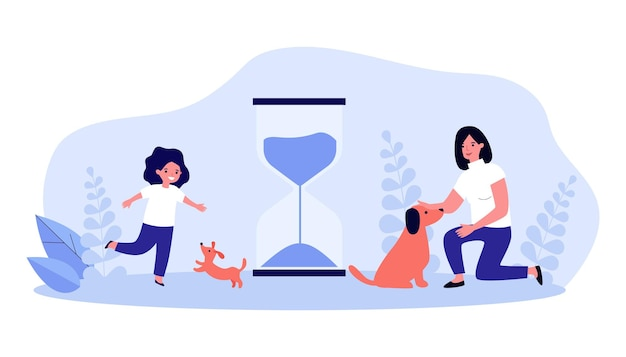 Puppy and little girl growing up together. flat vector illustration. hourglass, symbol of time, adult woman with dog and girl with puppy through years. pet, friendship, animal, time, family concept