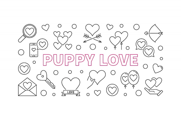 Puppy love outline icons