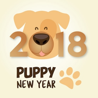 Puppy new year 2018. year of the dog. chinese happy new year design
