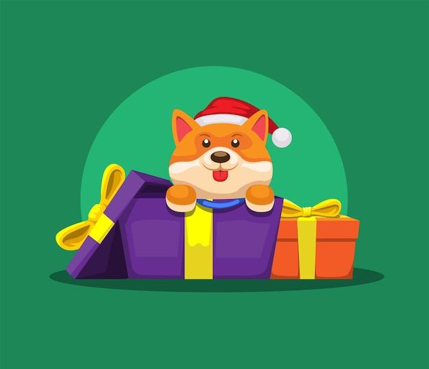ギフトボックスから子犬クリスマスシーズン漫画イラストベクトル