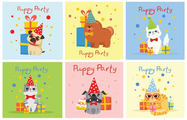 Puppy party background. cute greeting card with presents and puppies dog and cats