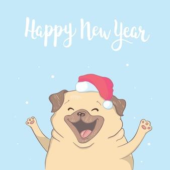 강아지 퍼그 산타의 모자와 크리스마스 장난감 공. 벡터 일러스트입니다.