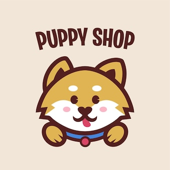 귀여운 강아지 마스코트 로고가있는 강아지 가게
