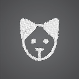Puppy sketch logo doodle icon isolated on dark background