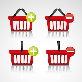 Purchase baskets to virtual store isolated on white