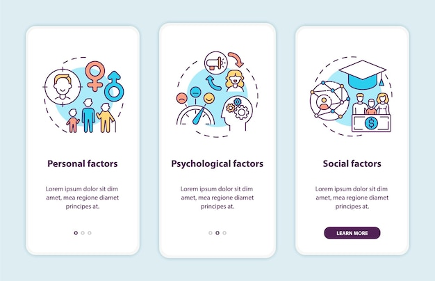 Purchase decision factors onboarding mobile app page screen with concepts