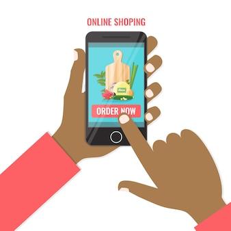 Покупайте еду онлайн на смартфоне. покупки онлайн бизнес, заказать сейчас концепцию.