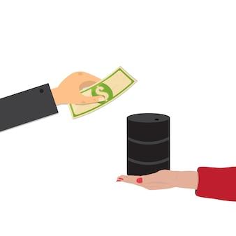 Покупка нефти, обмен доллара на нефть концепции.