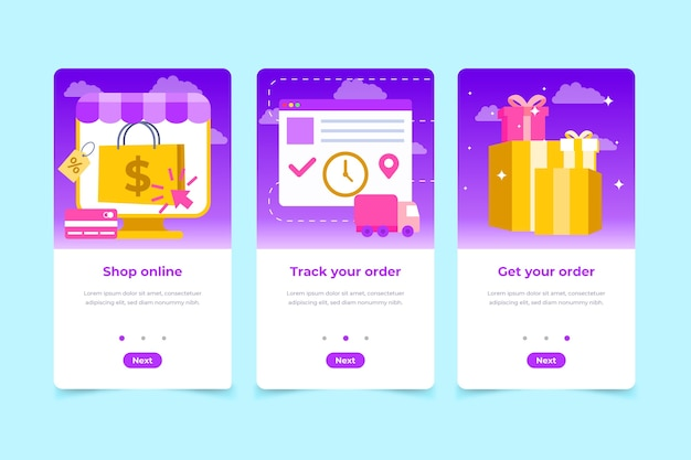 Purchase onboarding app screens