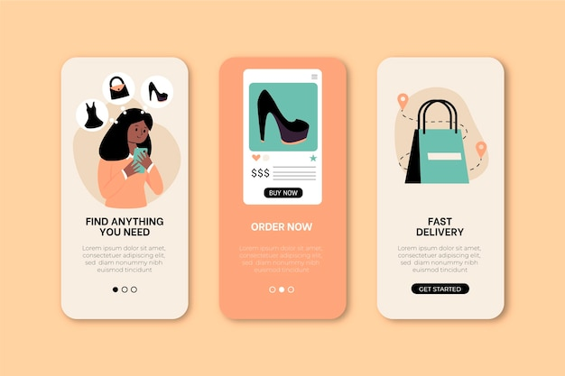 Purchase online app concept set
