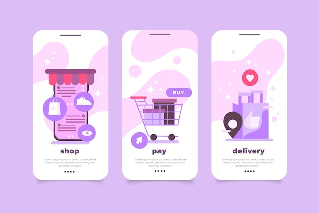 Purchase online app interface collection