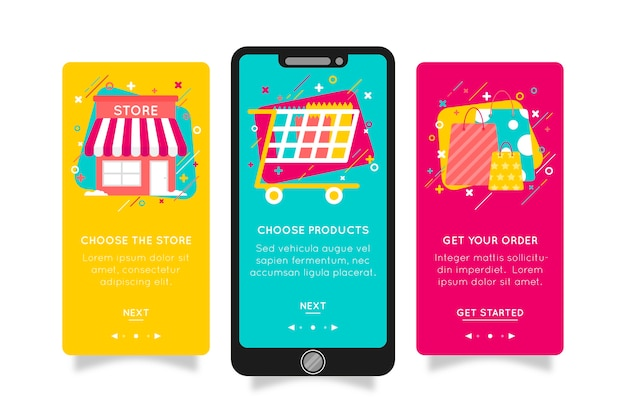 Purchase online onboarding app concept