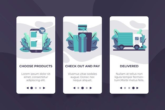 Purchase online onboarding app design