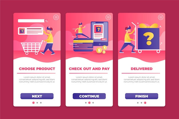 Purchase online onboarding app screen collection