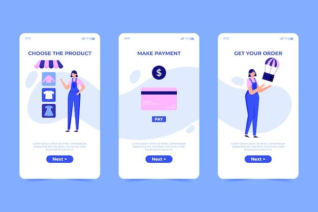 온라인 온 보딩 앱 화면 개념 구매