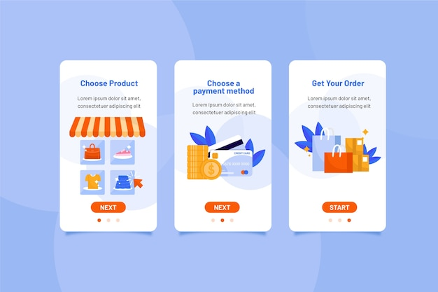 Purchase online onboarding app screens collection