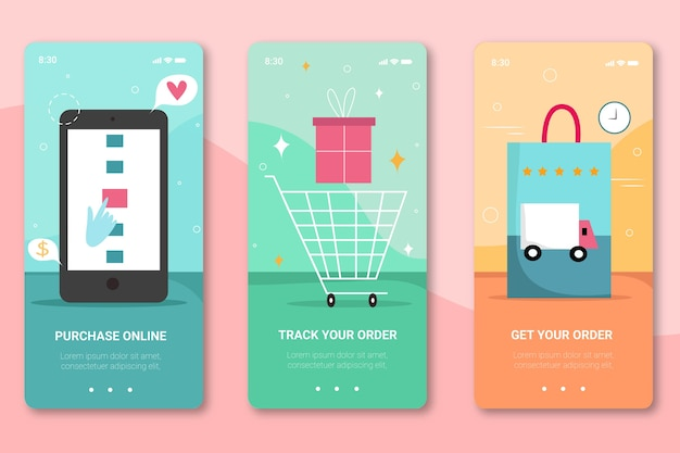 Purchase online onboarding app screens for mobile phone
