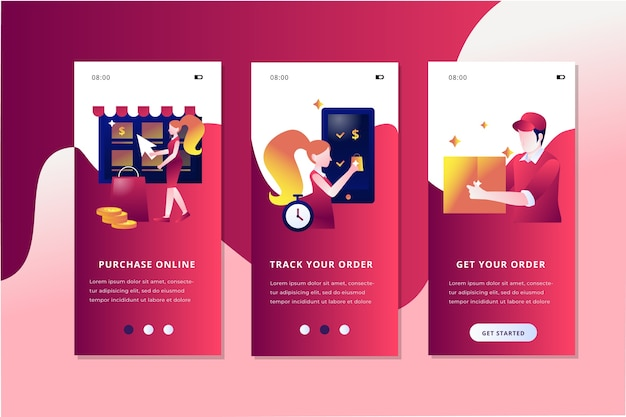 Purchase online onboarding app screens set