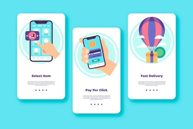 Purchase online onboarding app screens set
