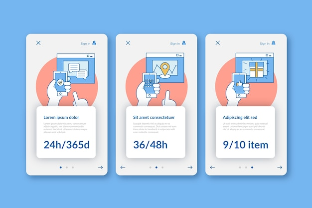 Purchase online onboarding app screens template