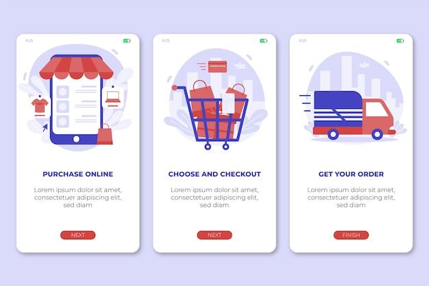 Purchase online onboarding app screens