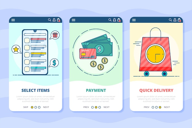 Purchase online onboarding app screens