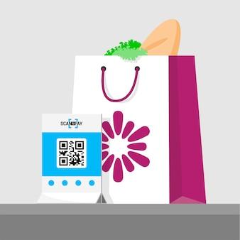 Покупка оплачена qr кодом. иллюстрация пакета с продуктами в магазине. плоская изометрическая инфографика. скан qr-кода и онлайн-платеж, денежный перевод.