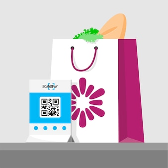 Purchase paid by qr code.  illustration of package with products in store. flat isometric infographics. scan qr code and online payment, money transfer.