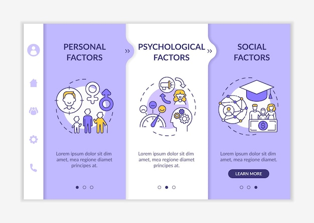 Purchase selection factors onboarding vector template. responsive mobile website with icons. web page walkthrough 3 step screens. personal, psychological aspect color concept with linear illustrations