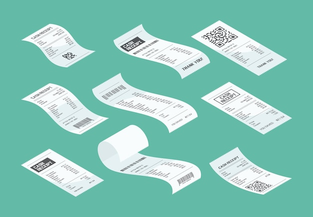 Purchasing check. buying receipt calculate purchasing financial document piece of market paper vector isometric. illustration check from purchasing and buying, calculate financial receipt