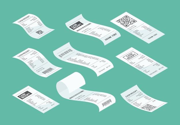 구매 확인. 구매 영수증은 시장 종이 벡터 아이소메트릭의 구매 재무 문서 조각을 계산합니다. 구매 및 구매에서 일러스트 확인, 금융 영수증 계산