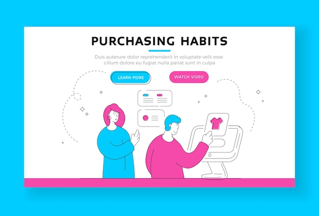 Purchasing habits landing page banner template. contemporary woman helping man to read reviews and choose garment while browsing clothes shop website. flat style illustration