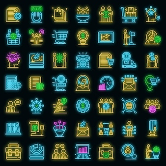 Purchasing manager icons set. outline set of purchasing manager vector icons neon color on black