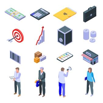 Purchasing manager icons set