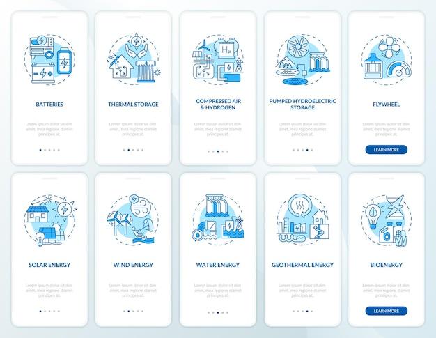 개념이 설정된 모바일 앱 페이지 화면을 온 보딩하는 태양 에너지 시스템 구매. 풍력 및 수력 에너지 연습 단계. ui 템플릿 일러스트레이션