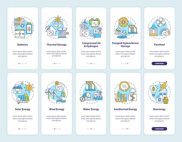 Экран страницы мобильного приложения для приобретения солнечной энергии с набором концепций